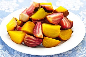 roasted red and golden beets