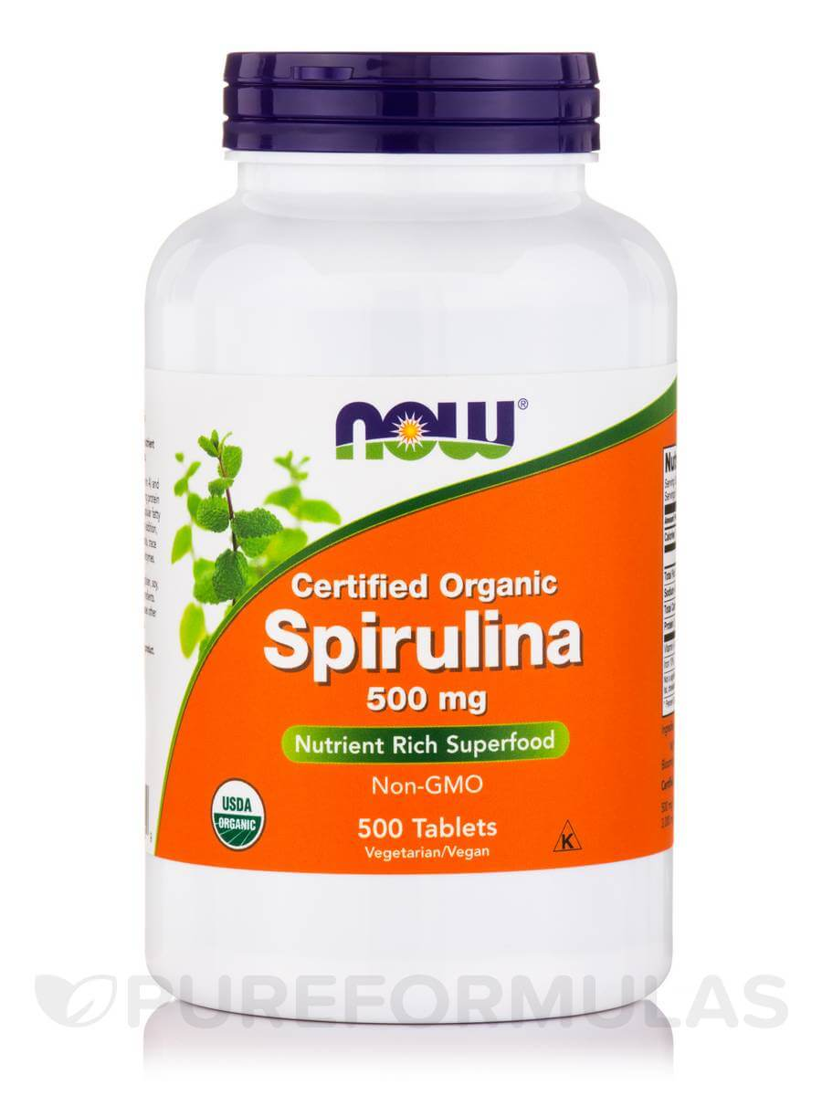 Certified Organic Spirulina Tablets by Now