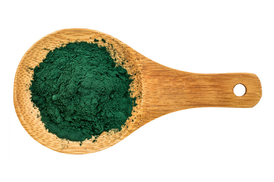 Nutrient-rich organic chlorella powder on a wooden spoon