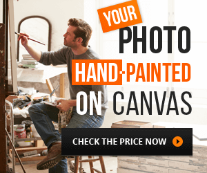 Your photo hand-painted on canvas, check the price now